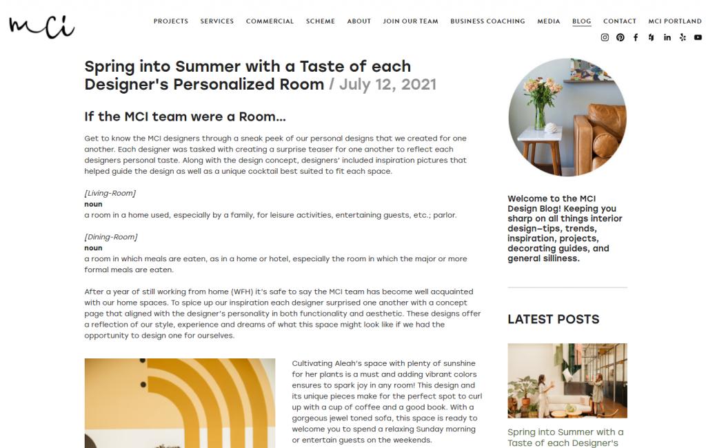 interior design blog post example