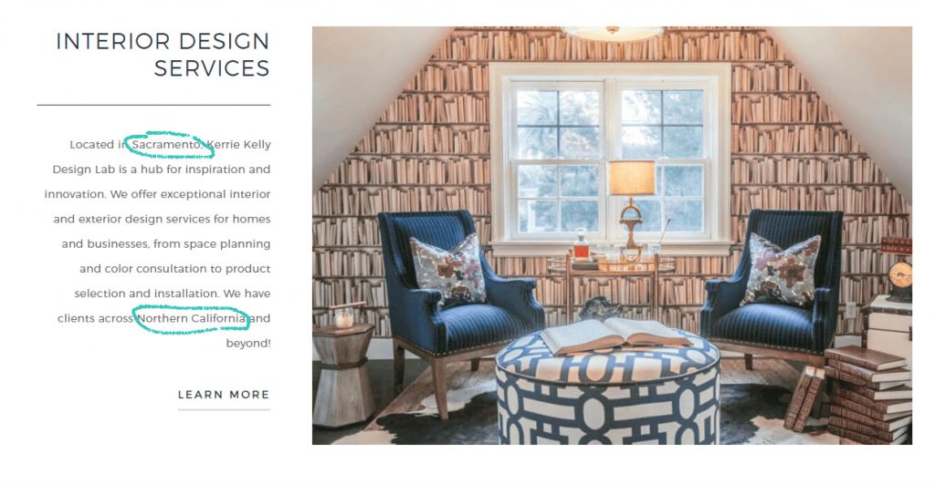 SEO-optimized interior design website example