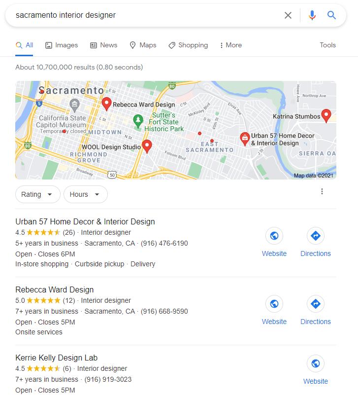 Google Maps results for interior designer