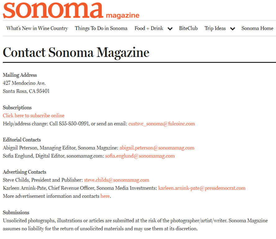 Sonoma magazine masthead contact information